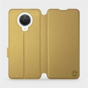 Flip pouzdro Mobiwear na mobil Nokia G20 v provedení C_GOS Gold&Gray s šedým vnitřkem