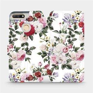 Parádní flip pouzdro Mobiwear na mobil Huawei Y6 Prime 2018 - MD01S Růže na bílé