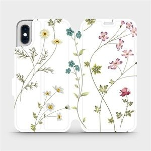 Flipové pouzdro Mobiwear na mobil Apple iPhone XS - MD03S Tenké rostlinky s květy