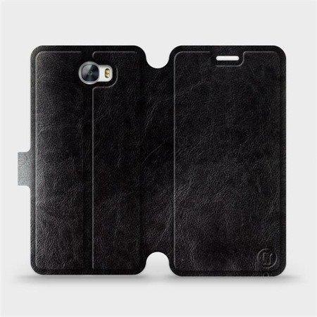 Parádní flip pouzdro Mobiwear na mobil Huawei Y6 II Compact v provedení C_BLS Black&Gray s šedým vnitřkem