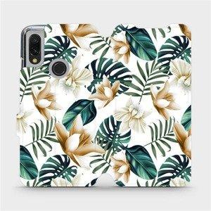 Flipové pouzdro Mobiwear na mobil Xiaomi Redmi 7 - MC07P Zlatavé květy a zelené listy