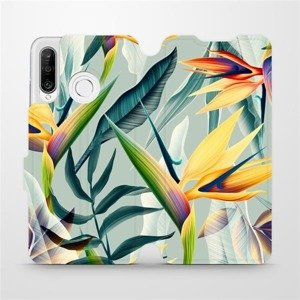 Flipové pouzdro Mobiwear na mobil Huawei P30 Lite - MC02S Žluté velké květy a zelené listy
