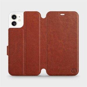 Flipové pouzdro Mobiwear na mobil Apple iPhone 11 v provedení C_BRP Brown&Orange s oranžovým vnitřkem