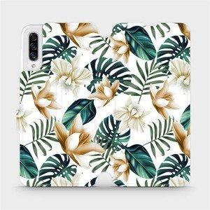 Flipové pouzdro Mobiwear na mobil Samsung Galaxy A30s - MC07P Zlatavé květy a zelené listy