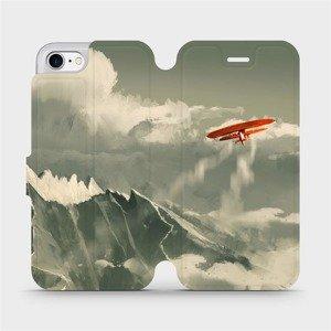 Flipové pouzdro Mobiwear na mobil Apple iPhone SE 2020 - MA03P Oranžové letadlo v horách