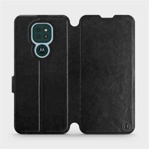 Flipové pouzdro Mobiwear na mobil Motorola Moto G9 Play v provedení C_BLS Black&Gray s šedým vnitřkem
