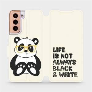 Flipové pouzdro Mobiwear na mobil Samsung Galaxy S21 5G - M041S Panda - life is not always black and white