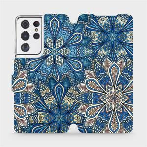 Flipové pouzdro Mobiwear na mobil Samsung Galaxy S21 Ultra 5G - V108P Modré mandala květy
