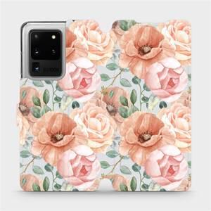 Flip pouzdro Mobiwear na mobil Samsung Galaxy S20 Ultra - MP02S Pastelové květy