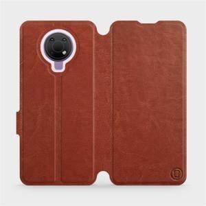 Flip pouzdro Mobiwear na mobil Nokia G10 v provedení C_BRP Brown&Orange s oranžovým vnitřkem