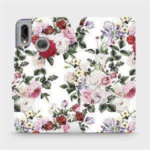 Flipové pouzdro Mobiwear na mobil Huawei P20 Lite - MD01S Růže na bílé