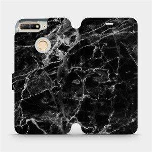 Flipové pouzdro Mobiwear na mobil Huawei Y6 Prime 2018 - V056P Černý mramor