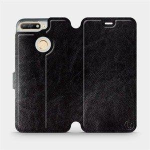 Flipové pouzdro Mobiwear na mobil Honor 7A v provedení C_BLS Black&Gray s šedým vnitřkem