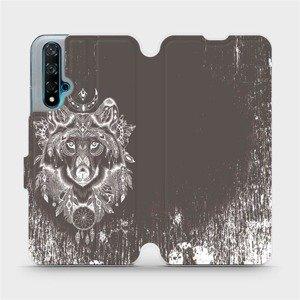 Flipové pouzdro Mobiwear na mobil Huawei Nova 5T - V064P Vlk a lapač snů