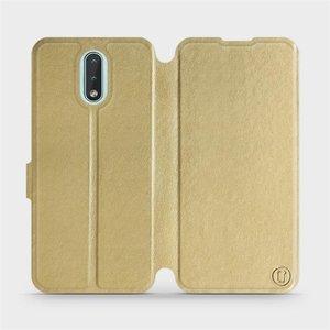 Flipové pouzdro Mobiwear na mobil Nokia 2.3 v provedení C_GOP Gold&Orange s oranžovým vnitřkem