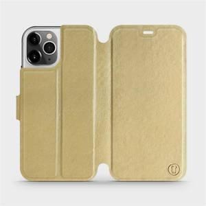 Flipové pouzdro Mobiwear na mobil Apple iPhone 12 Pro v provedení C_GOS Gold&Gray s šedým vnitřkem - výprodej
