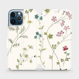 Flipové pouzdro Mobiwear na mobil Apple iPhone 12 Pro Max - MD03S Tenké rostlinky s květy