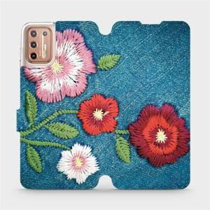 Flipové pouzdro Mobiwear na mobil Motorola Moto G9 Plus - MD05P Džínové květy