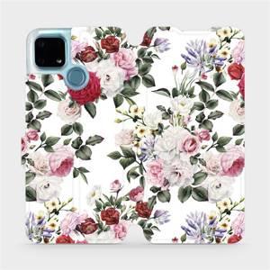 Flip pouzdro Mobiwear na mobil Realme 7i - MD01S Růže na bílé