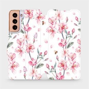 Flipové pouzdro Mobiwear na mobil Samsung Galaxy S21 5G - M124S Růžové květy