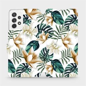 Flipové pouzdro Mobiwear na mobil Samsung galaxy A72 5G - MC07P Zlatavé květy a zelené listy