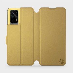 Flipové pouzdro Mobiwear na mobil Realme GT 5G v provedení C_GOP Gold&Orange s oranžovým vnitřkem