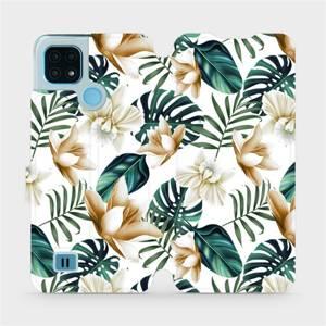 Flip pouzdro Mobiwear na mobil Realme C21 - MC07P Zlatavé květy a zelené listy