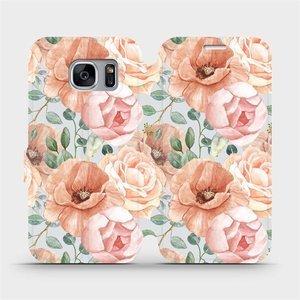 Flip pouzdro Mobiwear na mobil Samsung Galaxy S7 Edge - MP02S Pastelové květy