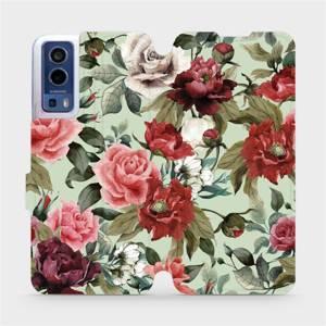 Flip pouzdro Mobiwear na mobil Vivo Y72 5G / Vivo Y52 5G - MD06P Růže a květy na světle zeleném pozadí