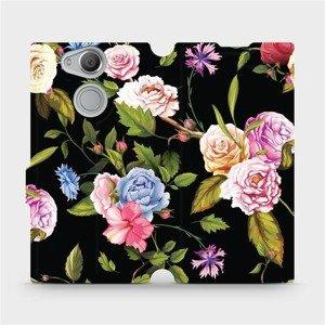 Flipové pouzdro Mobiwear na mobil Sony Xperia XA2 - VD07S Růže a květy na černém pozadí