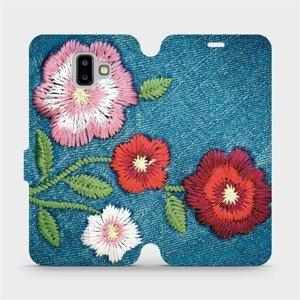 Flipové pouzdro Mobiwear na mobil Samsung Galaxy J6 Plus 2018 - MD05P Džínové květy