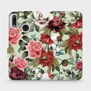 Flipové pouzdro Mobiwear na mobil Huawei Y7 2019 - MD06P Růže a květy na světle zeleném pozadí