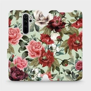 Flipové pouzdro Mobiwear na mobil Xiaomi Redmi Note 8 Pro - MD06P Růže a květy na světle zeleném pozadí