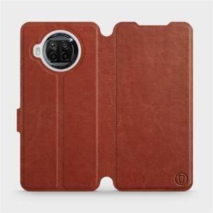 Flipové pouzdro Mobiwear na mobil Xiaomi MI 10T Lite v provedení C_BRP Brown&Orange s oranžovým vnitřkem