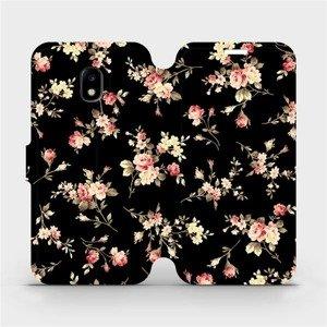Flipové pouzdro Mobiwear na mobil Samsung Galaxy J3 2017 - VD02S Květy na černé