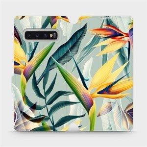 Flipové pouzdro Mobiwear na mobil Samsung Galaxy S10 Plus - MC02S Žluté velké květy a zelené listy