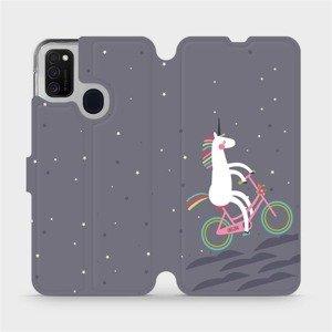 Flipové pouzdro Mobiwear na mobil Samsung Galaxy M21 - V024P Jednorožec na kole