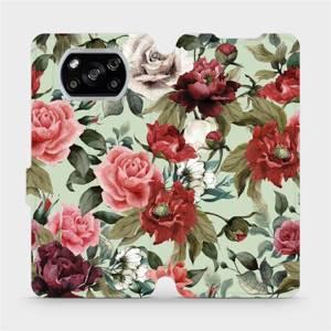 Flipové pouzdro Mobiwear na mobil Xiaomi POCO X3 NFC - MD06P Růže a květy na světle zeleném pozadí
