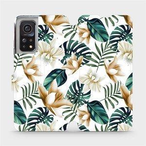 Flipové pouzdro Mobiwear na mobil Xiaomi MI 10T Pro - MC07P Zlatavé květy a zelené listy