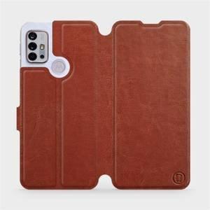 Flipové pouzdro Mobiwear na mobil Motorola Moto G10 v provedení C_BRP Brown&Orange s oranžovým vnitřkem