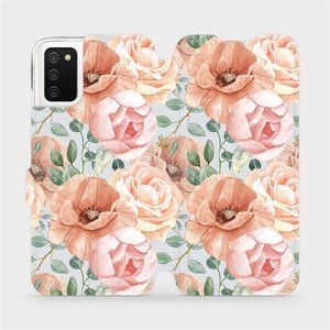Flip pouzdro Mobiwear na mobil Samsung Galaxy A02S - MP02S Pastelové květy