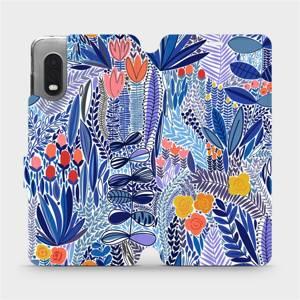 Flip pouzdro Mobiwear na mobil Samsung Galaxy Xcover Pro - MP03P Modrá květena