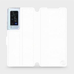 Flip pouzdro Mobiwear na mobil Vivo X60 Pro 5G v provedení C_WHP White&Orange s oranžovým vnitřkem