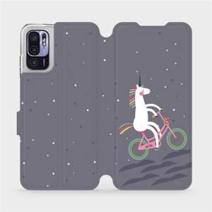Flip pouzdro Mobiwear na mobil Xiaomi Redmi Note 10 5G - V024P Jednorožec na kole