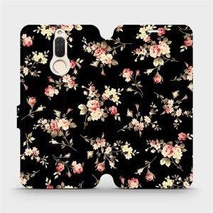 Flipové pouzdro Mobiwear na mobil Huawei Mate 10 Lite - VD02S Květy na černé