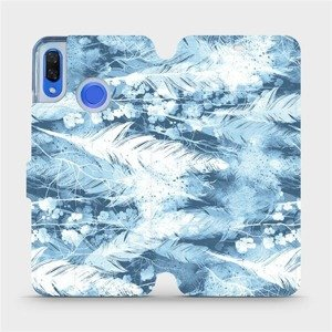 Flipové pouzdro Mobiwear na mobil Huawei Nova 3 - M058S Světle modrá horizontální pírka