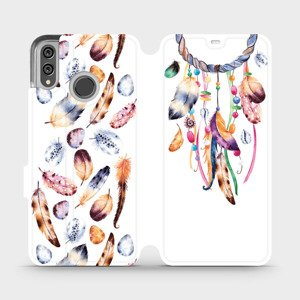 Flipové pouzdro Mobiwear na mobil Honor 8X - M003S Lapač a barevná pírka