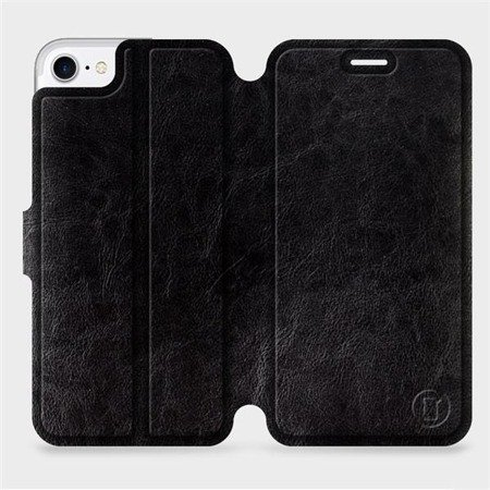 Parádní flip pouzdro Mobiwear na mobil Apple iPhone 8 v provedení C_BLS Black&Gray s šedým vnitřkem
