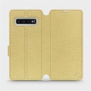 Flipové pouzdro Mobiwear na mobil Samsung Galaxy S10 v provedení C_GOS Gold&Gray s šedým vnitřkem