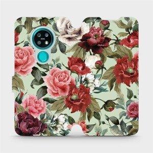 Flipové pouzdro Mobiwear na mobil Nokia 7.2 - MD06P Růže a květy na světle zeleném pozadí